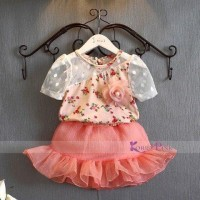 Baju Setelan Anak Korea Pink Branded Peach Flower Skirt Best Seller
