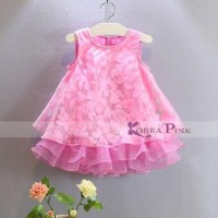 Gaun Anak Korea Pink 2Layer Flower Dress Best Seller