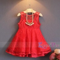Gaun Merah Anak Korea Pink Lace Red Necklace Dres Murah