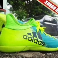 SEPATU FUTSAL Adidas X 16.2 Techfit Boots Biru Stabilo KW Super