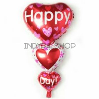Balon Foil Love Cinta Heart Happy Day 3 Susun Jumbo Besar Murah
