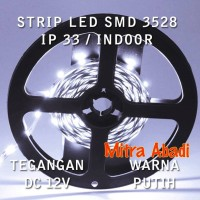 Flexible LED Strip White/Putih SMD 3528 DC 12V IP33 INDOOR ONLY