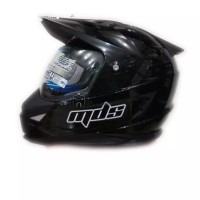 Helm Full Face MDS Super Pro Supermoto Double Visor Hitam Glossy