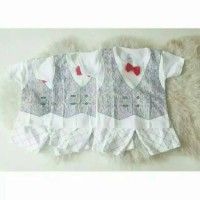 Setelan Rompi Putih SIZE S Stelan Jas Pakaian Baju Kaos Bayi Anak