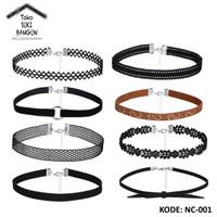 NC-001 Kalung Wanita Choker Aksesoris Necklace Women Leather Suede