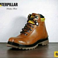 Sepatu Boot Caterpillar Safety Pria Kulit Ujung Besi