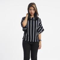 Baju Wanita Atasan Batwing Motif Garis-Garis Biru Navy Hitam