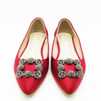 De Velvet Mary Jane red flat shoes