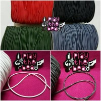 Tali Karet Elastis Hitam/Elastic Cord 3mm utk Ikat Rambut, Gelang, dll