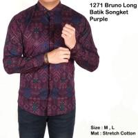 terlaris kemeja lengan batik songket purple / baju cowok batik