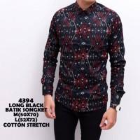 terlaris Kemeja Batik Songket Pria Black Panjang Kantor Slimfit Baju