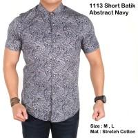 terlaris baju cowok batik pria lengan pendek abstrak navy slimfit /