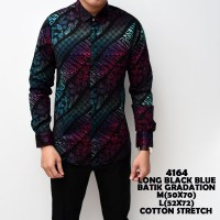 terlaris Kemeja Batik Pria Gradation Black Blue Slimfit Katun Baju