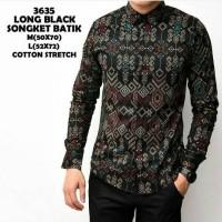 terlaris baju kemeja pria | kemeja batik songket lengen panjang black