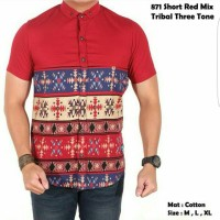 terlaris baju kemeja pria lengan pendek red mix batik tribal produk