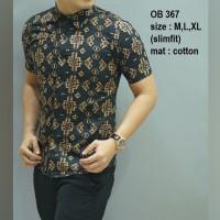 terlaris Kemeja Batik Pria Pendek / Baju Batik Slim Fit / Baju Pesta