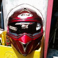 Helm GM Airborne Red Maroon Fullface Full Visor Airborne Merah