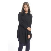 Baju Kemeja Tunik Wanita Shirt Dress Lengan Panjang Hitam Berkualitas