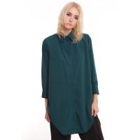 Baju Tunik Kemeja Wanita Shirt Dress Atasan Lengan Panjang Hijau