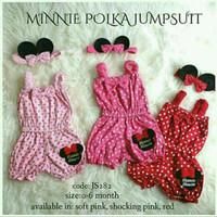 Jumper baby polka minnie mouse / romper jumpsuit bayi polkadot