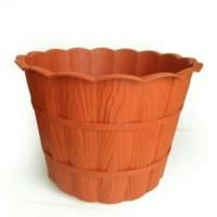 KHUSUS GOJEK Pot Bunga Plastik Motif Kayu 35 Cm