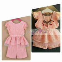 Baju Anak Branded Import Fashion Kids Girls Setelan Korea Lace Peach S