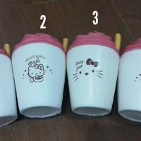 Squishy ice cream cup hello kitty gantungan cute soft slow