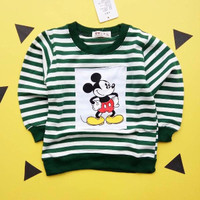 Sweater Anak Mickey Striped Green (IMPORT) | Murah dan Bagus