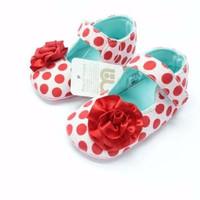 Sepatu Prewalker Bayi Cewek Mothercare Pink Polkadot Merah Bunga