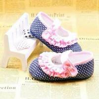 Sepatu Prewalker PW Anak Bayi Cewek Perempuan Biru Bintik Renda Pink
