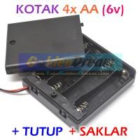 4x AA Battery Holder Baterai Case Batere Box Kotak + Tutup Saklar