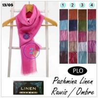 Pashmina Linen Polos Rawis | Plain Linen Scarf | Jilbab Ombre PLO