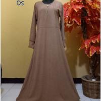 Long Dress Gamis Tanpa Hijab Babat Polos - 104 Coklat Susu BIG SIZE
