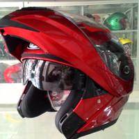 Helm KYT RRX Modular Full Face Red Fullface Visor Merah