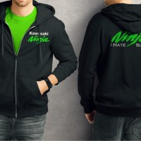 jaket Sweater jipper jumper kawasaki ninja i hate slow hijau
