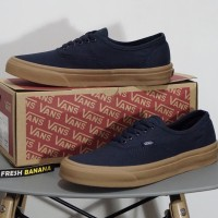Sepatu Vans Authentic Dark Dress Blue Navy Rubber Gum Brown DT Premium