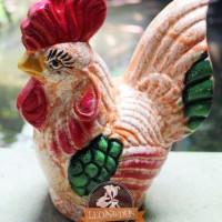 Celengan Gerabah Ayam Motif Orange Tanah Liat Bakar 23x18cm