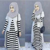 Setelan st hijab muslim CAROLYN salur baju wanita maxi syari