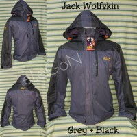 Jaket Outdoor Gunung JWS Jack Wolfskin Grey+Black Waterproof