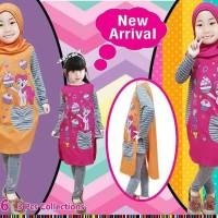 Setelan little pineapple baju muslim celana abu 354-6