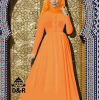 Dress - gamis liliana DR - baju muslim wanita katun oranye Berkuali