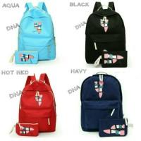 tas sekolah wanita murah backpack flatshoes 2in1 grosir tas punggung