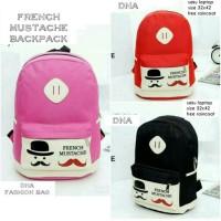 tas sekolah wanita murah backpack mustache grosir tas ransel