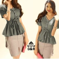 Atasan - hem merina DR - blouse wanita katun abu Berkualitas 108
