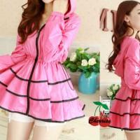 Dress - dress hodie CR - dress wanita spandek pink Limited 397