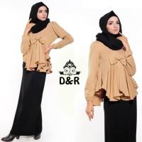 Dress - gamis peplum DR - baju muslim wanita spandek coklat Limited