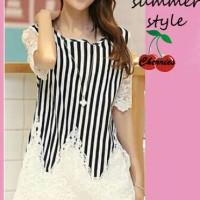 Atasan - blus celiana CR - pakaian wanita atasan stripe Murah 60