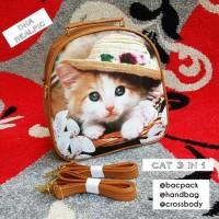 tas fashion wanita murah backpack 3in1 style cat grosir tas