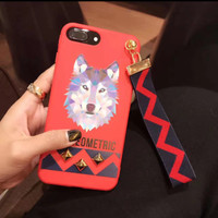 Soft Case Iphone with strap Red Husky 6/6S, 6/6S Plus, 7 & 7+ casing