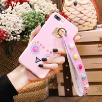 Soft Case Iphone with fendi strap you Pink 6/6S, 6/6S Plus, 7 & 7+